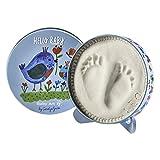 Baby Art One Step Geschenkbox zur Geburt oder Taufe, Magic Box Hello Baby mit Hand oder Fußabdruck zum aufstelle, rund, Limited Edition Carolyn Gavin, birds, Vögel