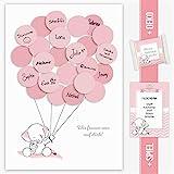 Babyparty Gästebuch, Baby Shower Geschenk Elefant Mädchen in rosa Deko, Babyshower Dekoration, Andenken, Idee, Erinnerungsstück, Pullerparty, Schnullerparty, Pinkelparty Fingerabdruck, Gastgeschenk